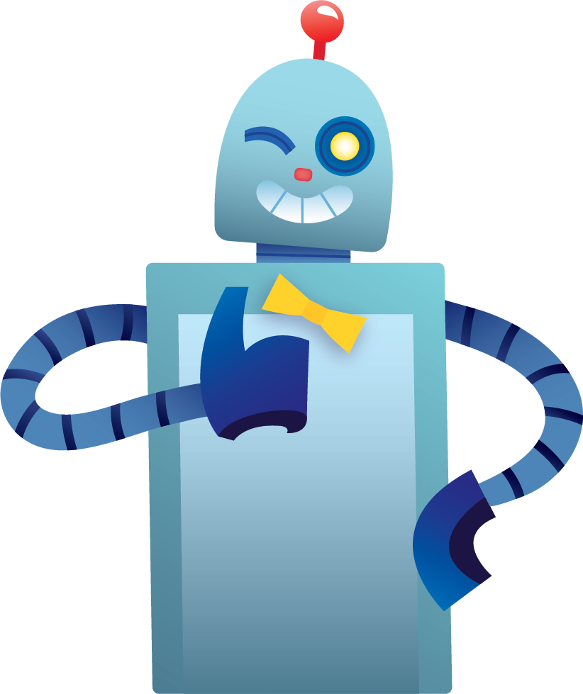 Illustration of Lucky the robot giving the thumbs up.