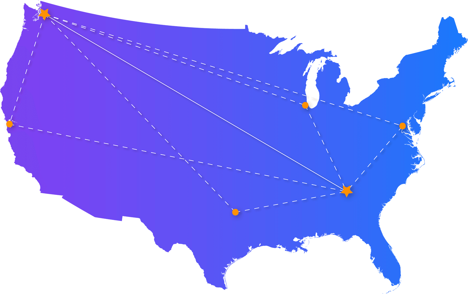 Map of Lightspeed's Data Centers and Points of Presence in the United States.