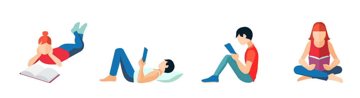 Illustration of people in various positions reading books