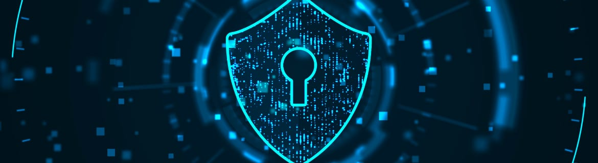 Digital image of a shield with lock to indicate computer security