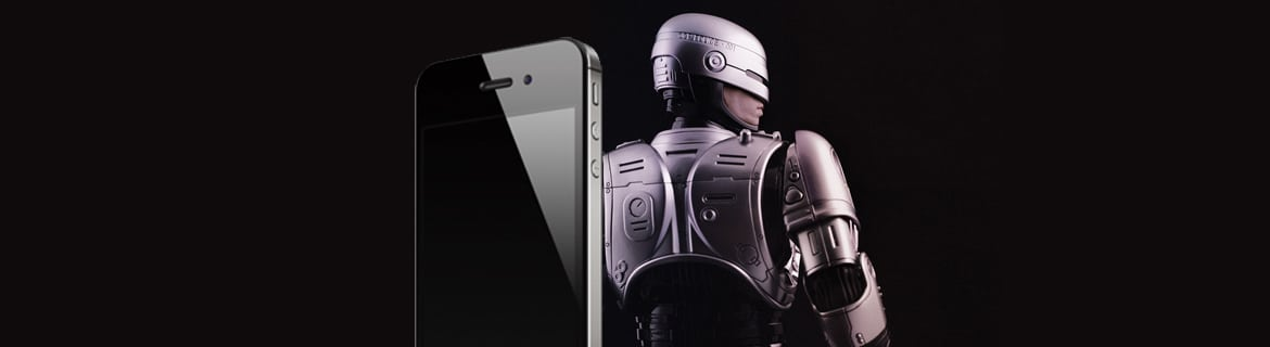 Iphone image and Robocop from the movie Robocop back to back