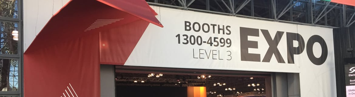 Image of a banner over retail expo trade show entrance