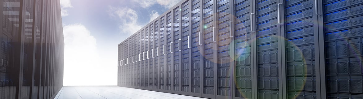Illustration of server farm in the sky surrounded by blue sky and fluffy white clouds