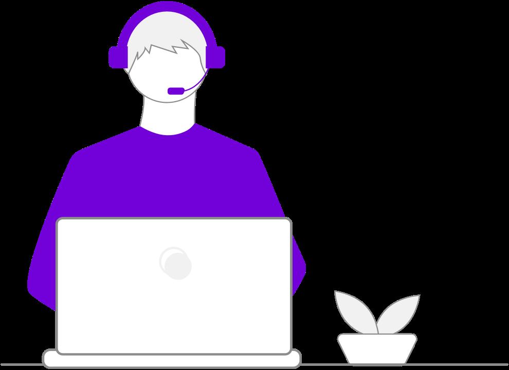 Helpful car loan expert on computer