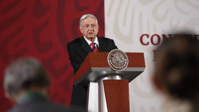 Mandatory Credit: Photo by José Méndez/EPA-EFE/Shutterstock (10614011b) The President of Mexico, Andres Manuel Lopez Obrador, holds a morning press conference, at the National Palace in Mexico City, Mexico 15 April 2020. Obrador called on Wednesday to 'wait and be confident' during the coronavirus pandemic crisis despite the IMF forecasting that the national economy will contract 6.6% this year. Obrador speaks about IMF forecast, Mexico City - 15 Apr 2020