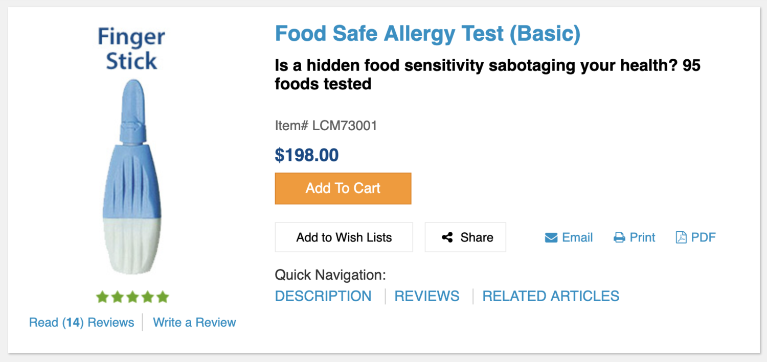 "Though this is marketed as a ""food safe allergy"" test, it is actually a food  sensitivity  test."