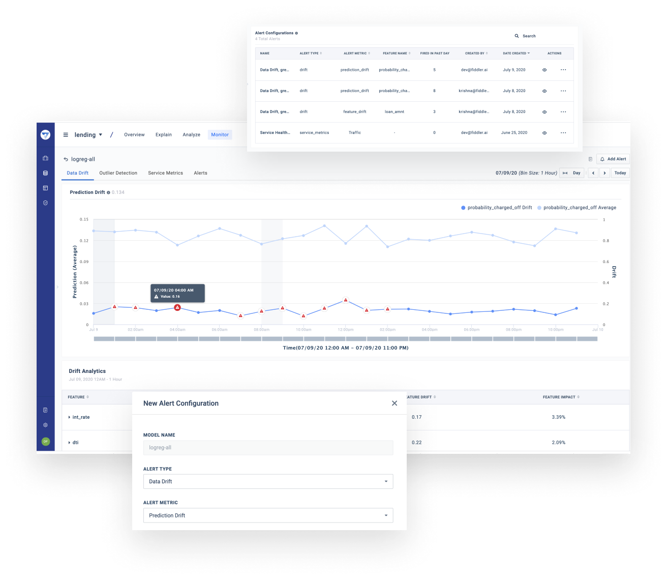 An image of Fiddler's ML MPM Platform dashboard. It shows how a user can configure alerts when data drift occurs.