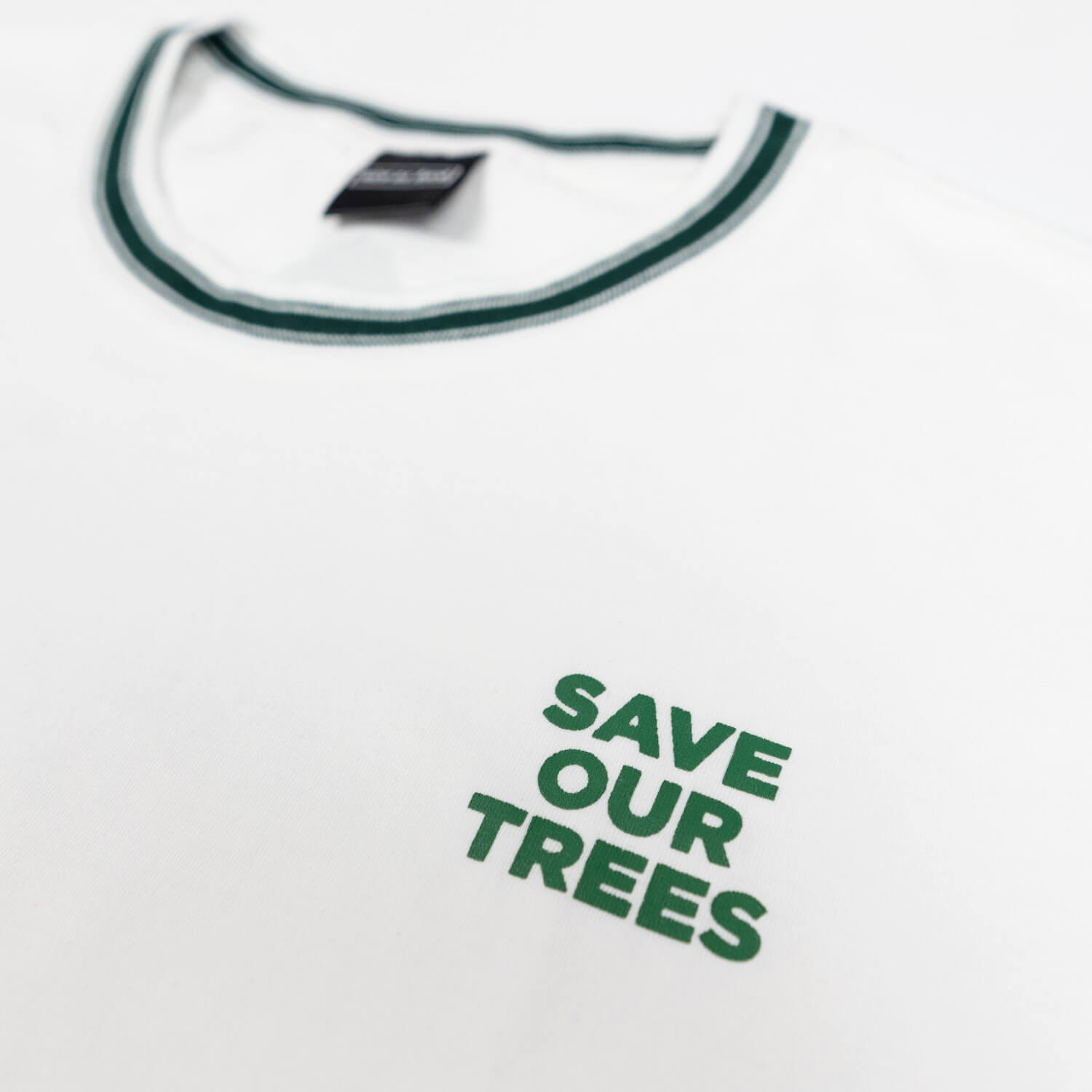 save our trees tee close up