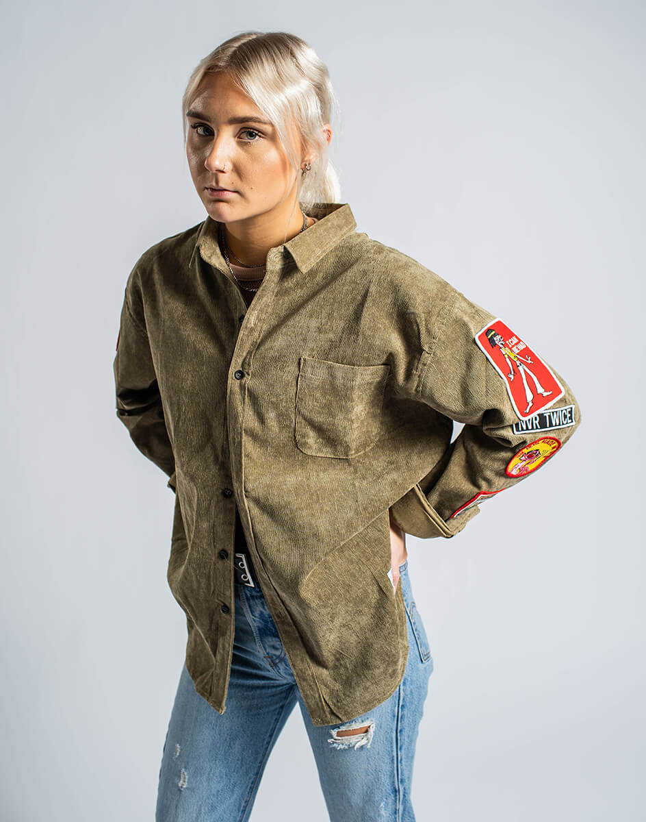 model wearing Hill Bomber Women's Jacket