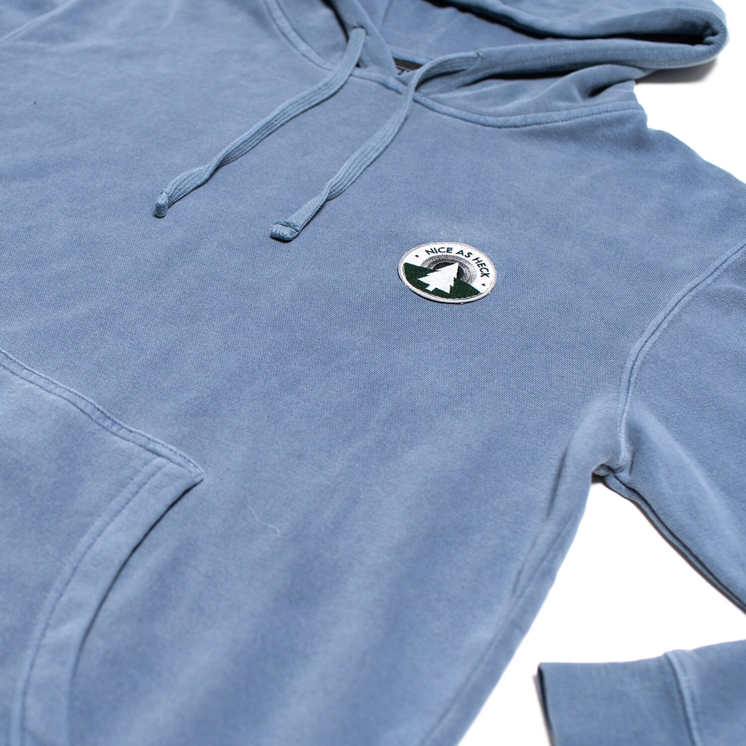blue backcountry hoodie close up