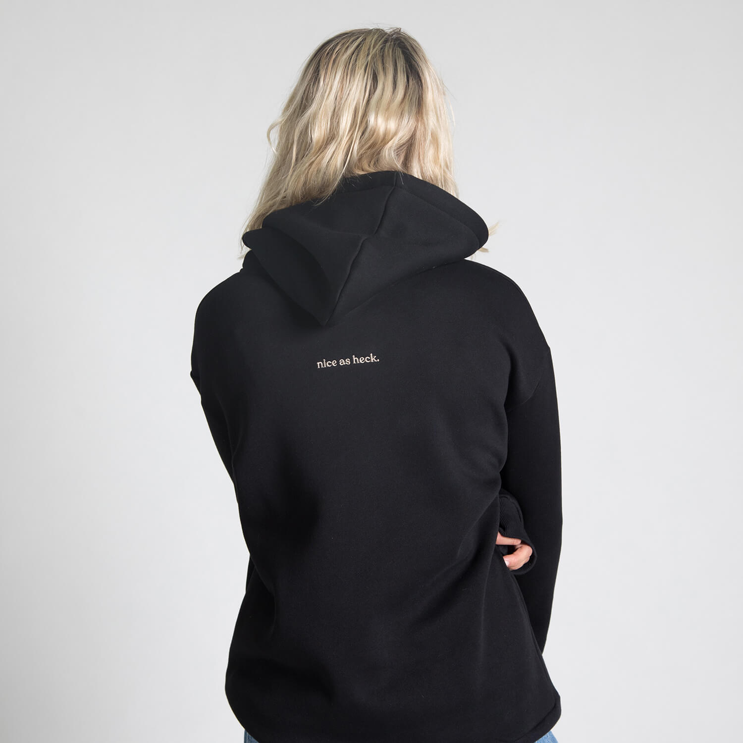 girl wearing trainhopper hoodie