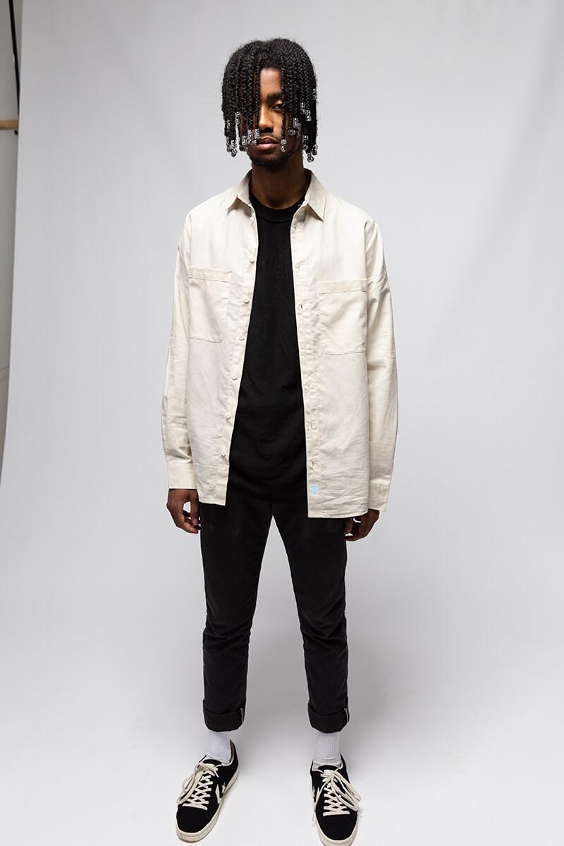 boy wearing lowdown linen shirt