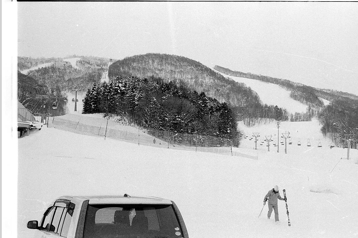 ski mountain in japan in black and white