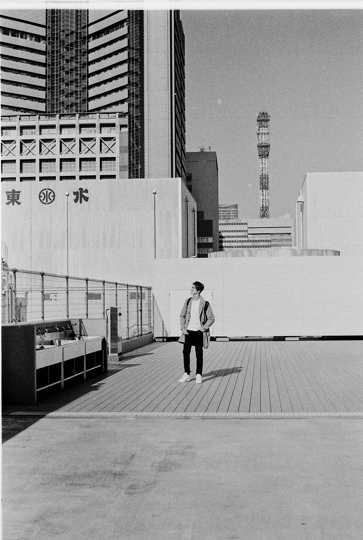 japan rooftop in black and white