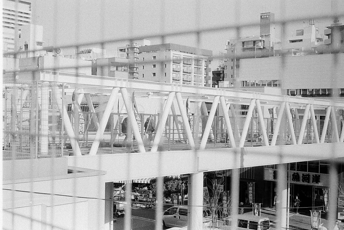 bridge in japan in black and white