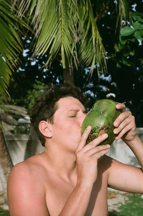 matt drinking a guava