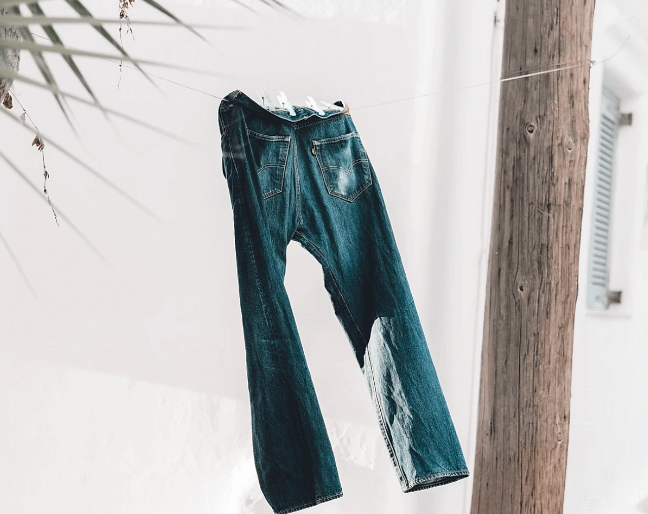 jeans hanging in the wind