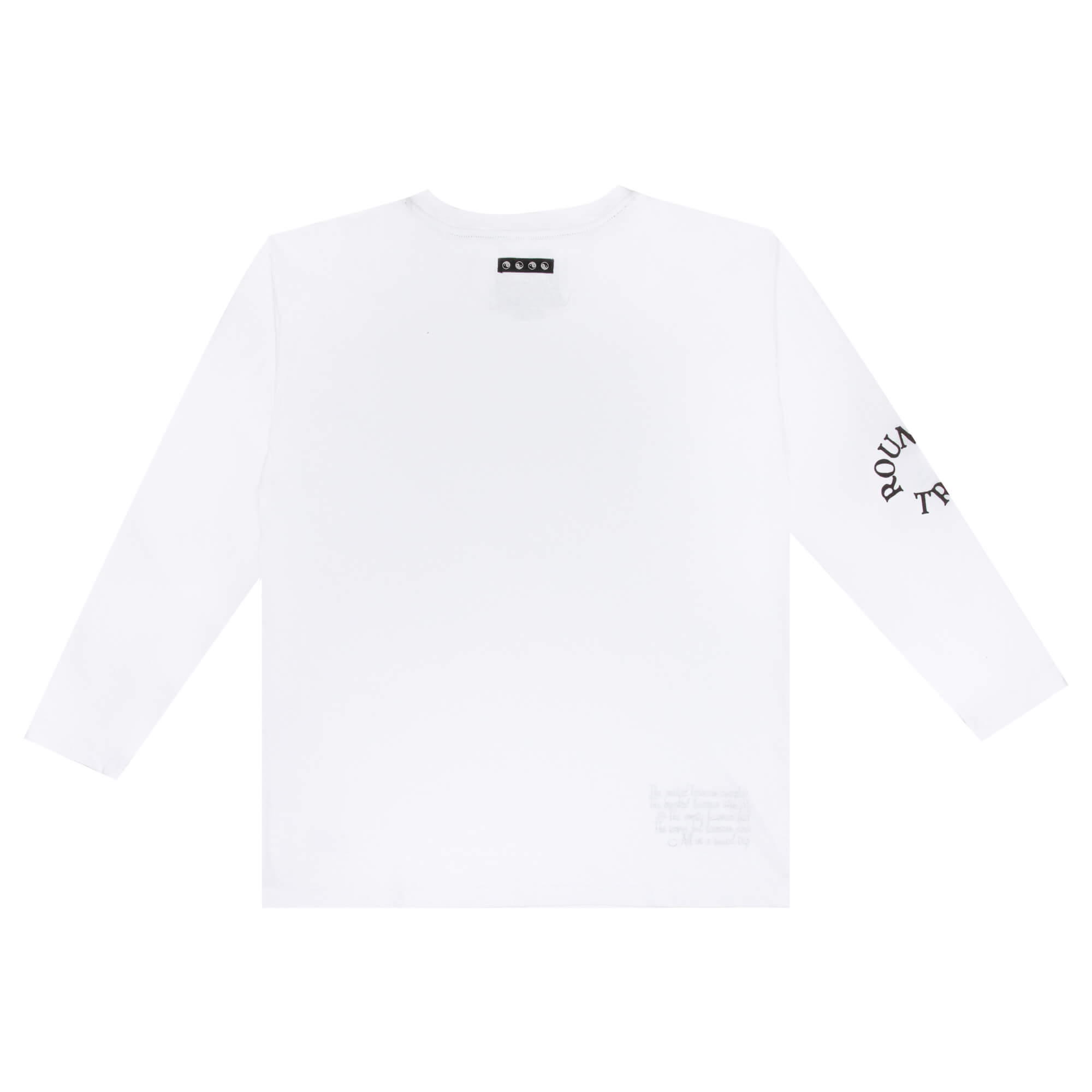 back side of the white round trip longsleeve