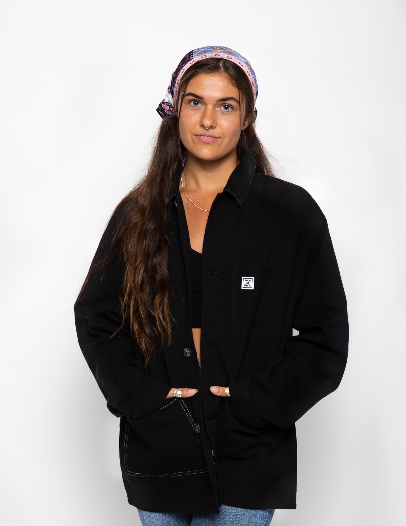 front view of a female model wearing the black kickback jacket