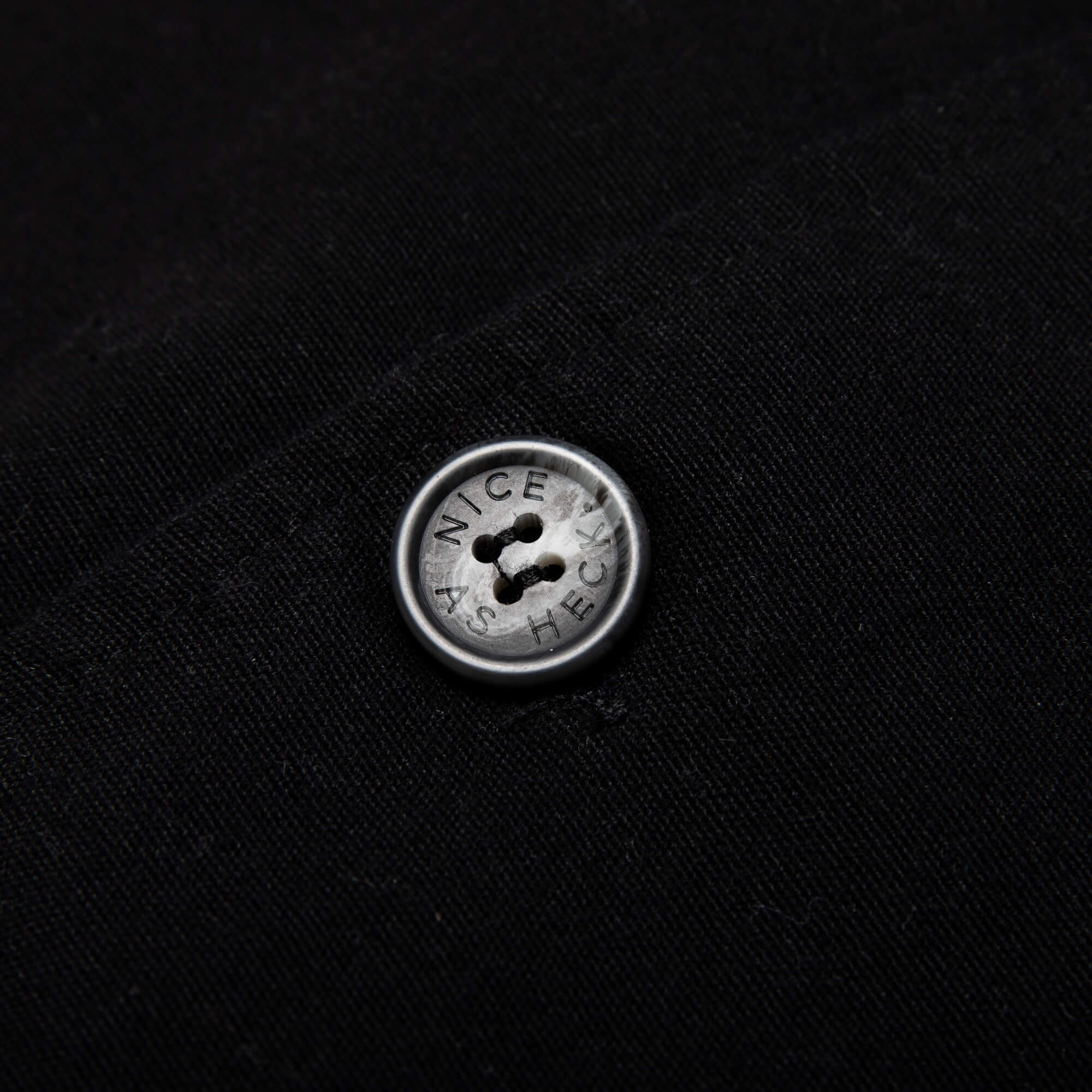 close up image of the black button on the black kickback jacket
