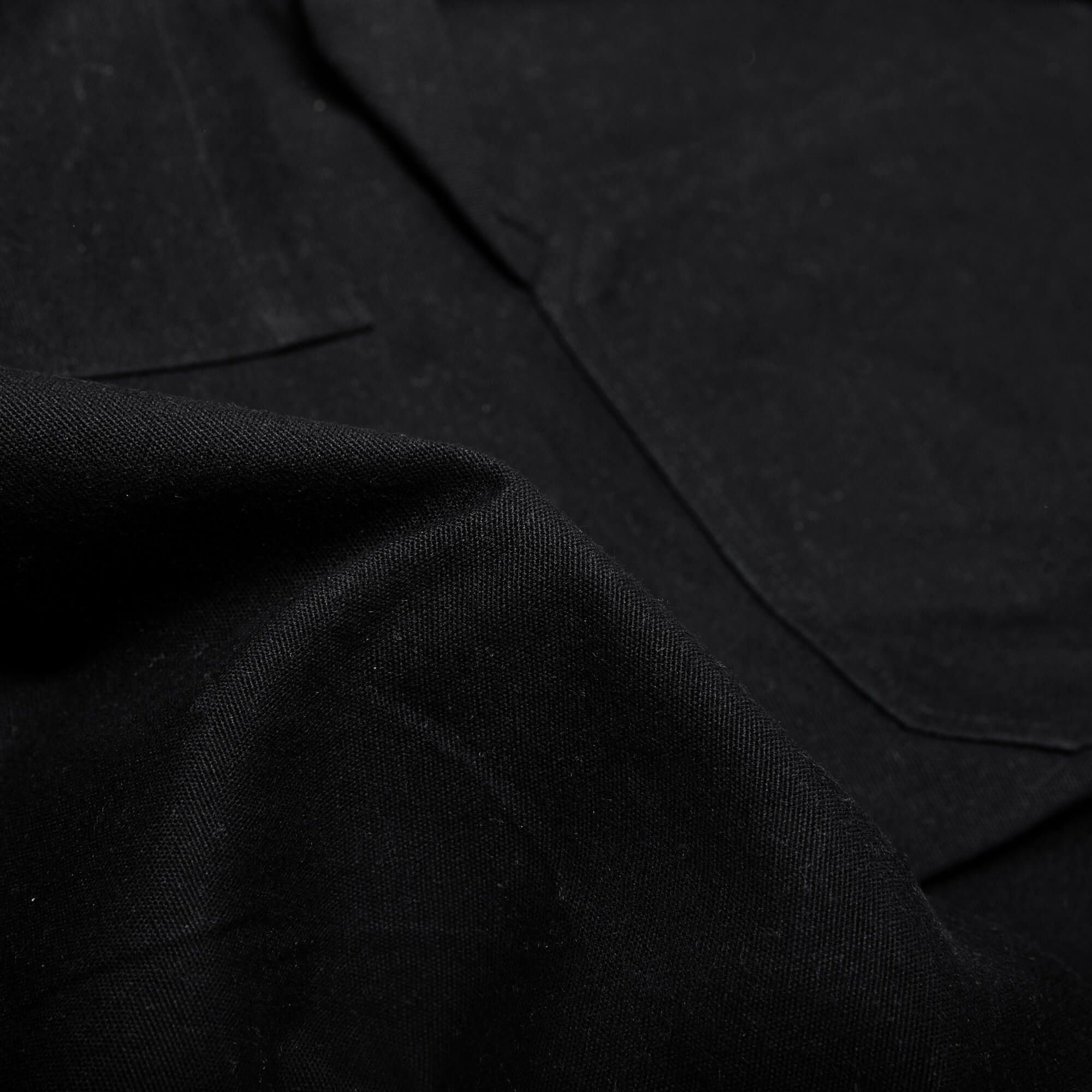 close up of the black fabric for the wood worker pants
