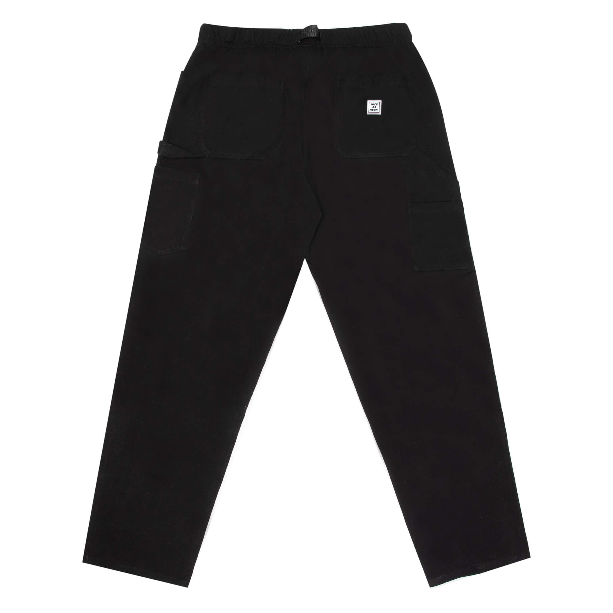 back view of the black wood worker pants