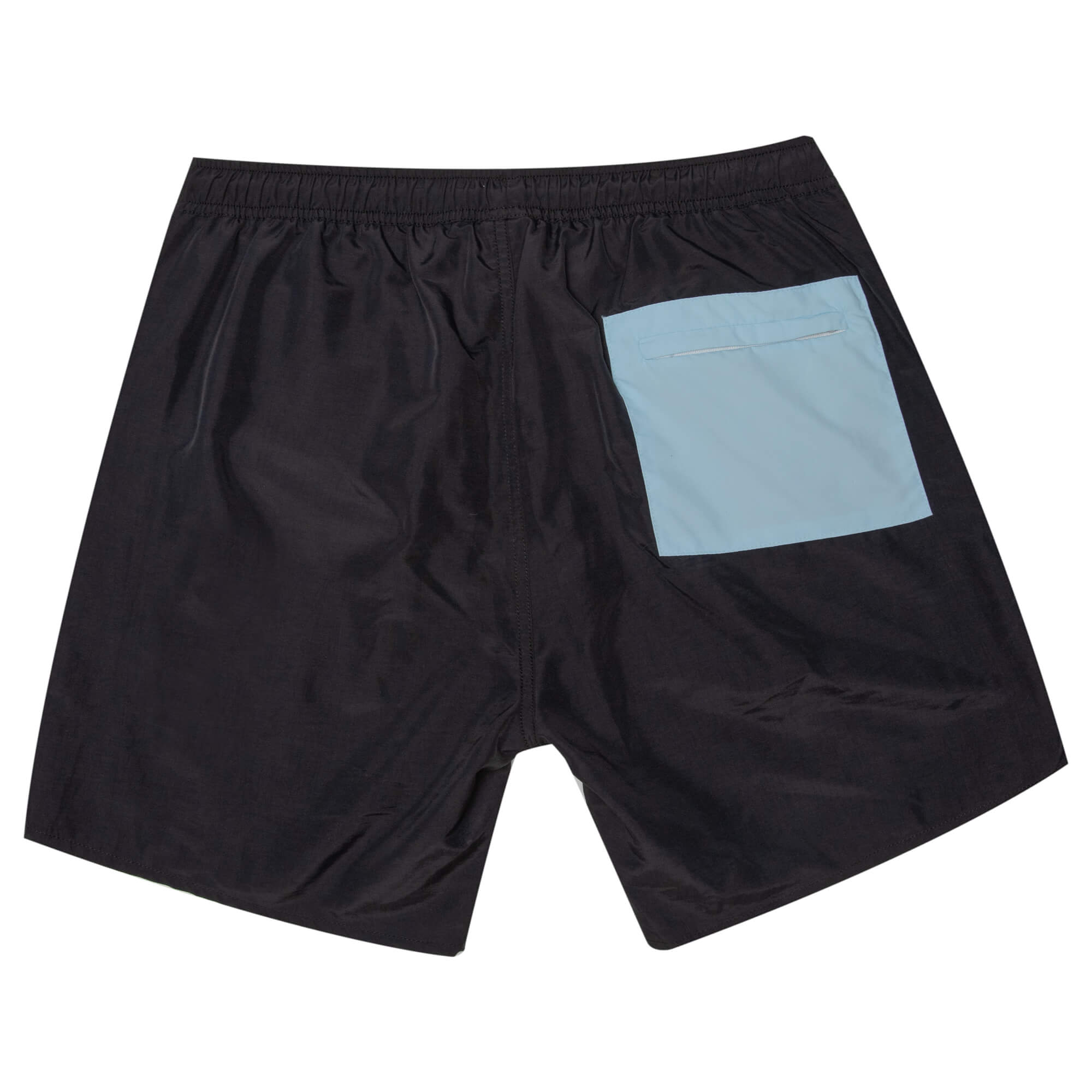 back view of the twilight nylon shorts which are black with a blue pocket on the back