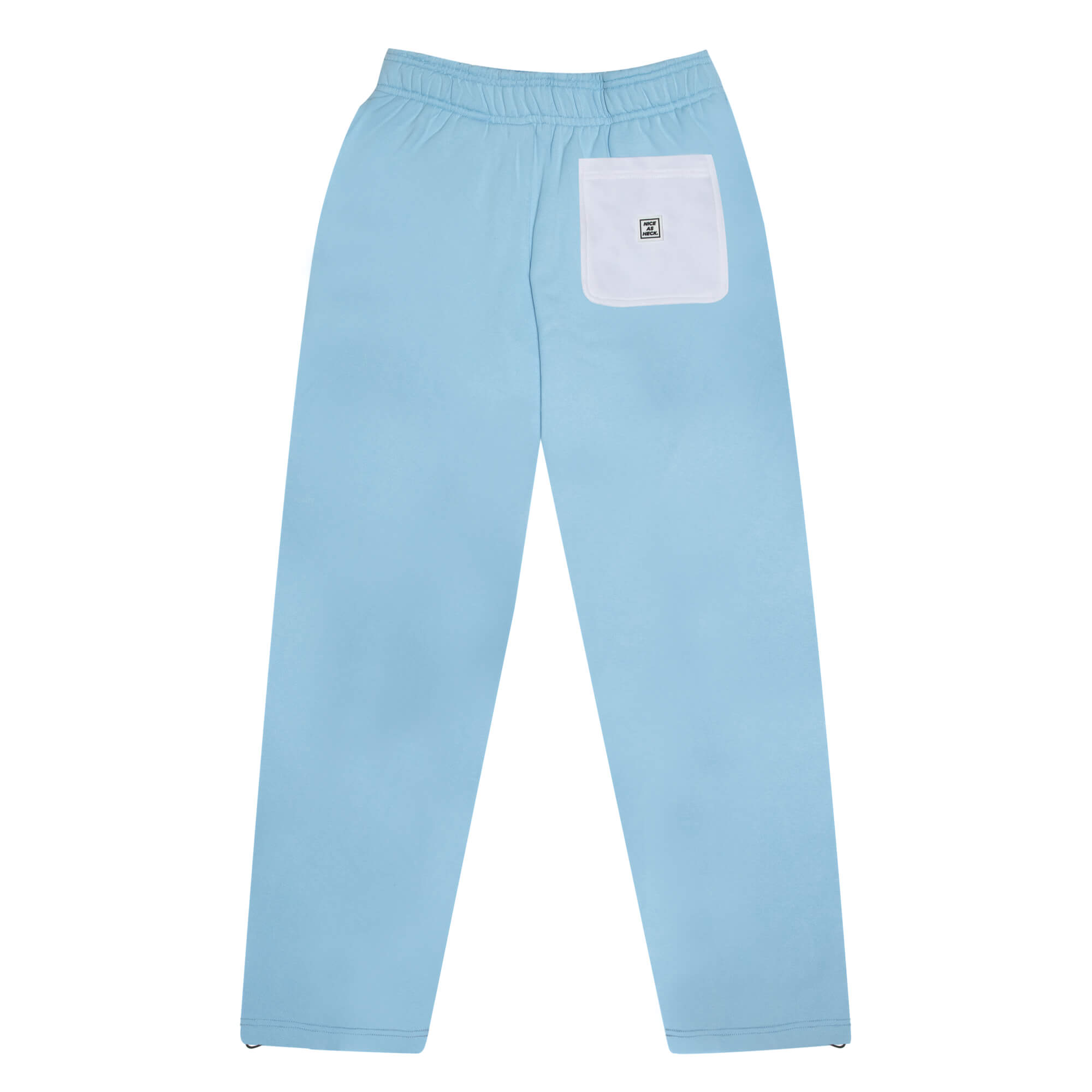 back side of the baby blue sunday sweats with a white pocket