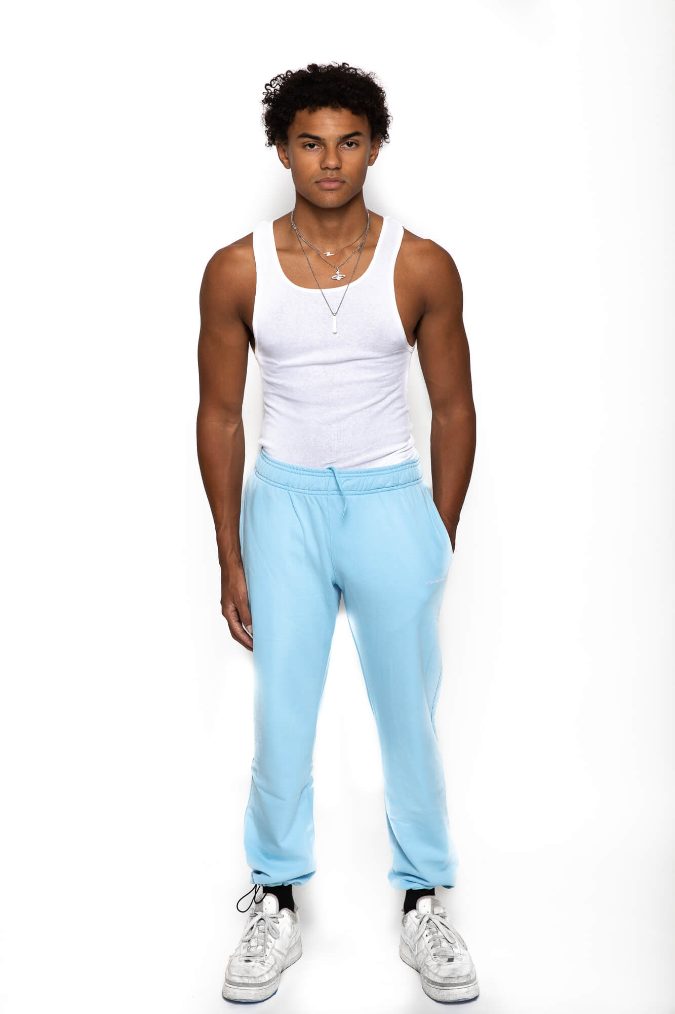 front view of male model wearing the blue sunday sweats