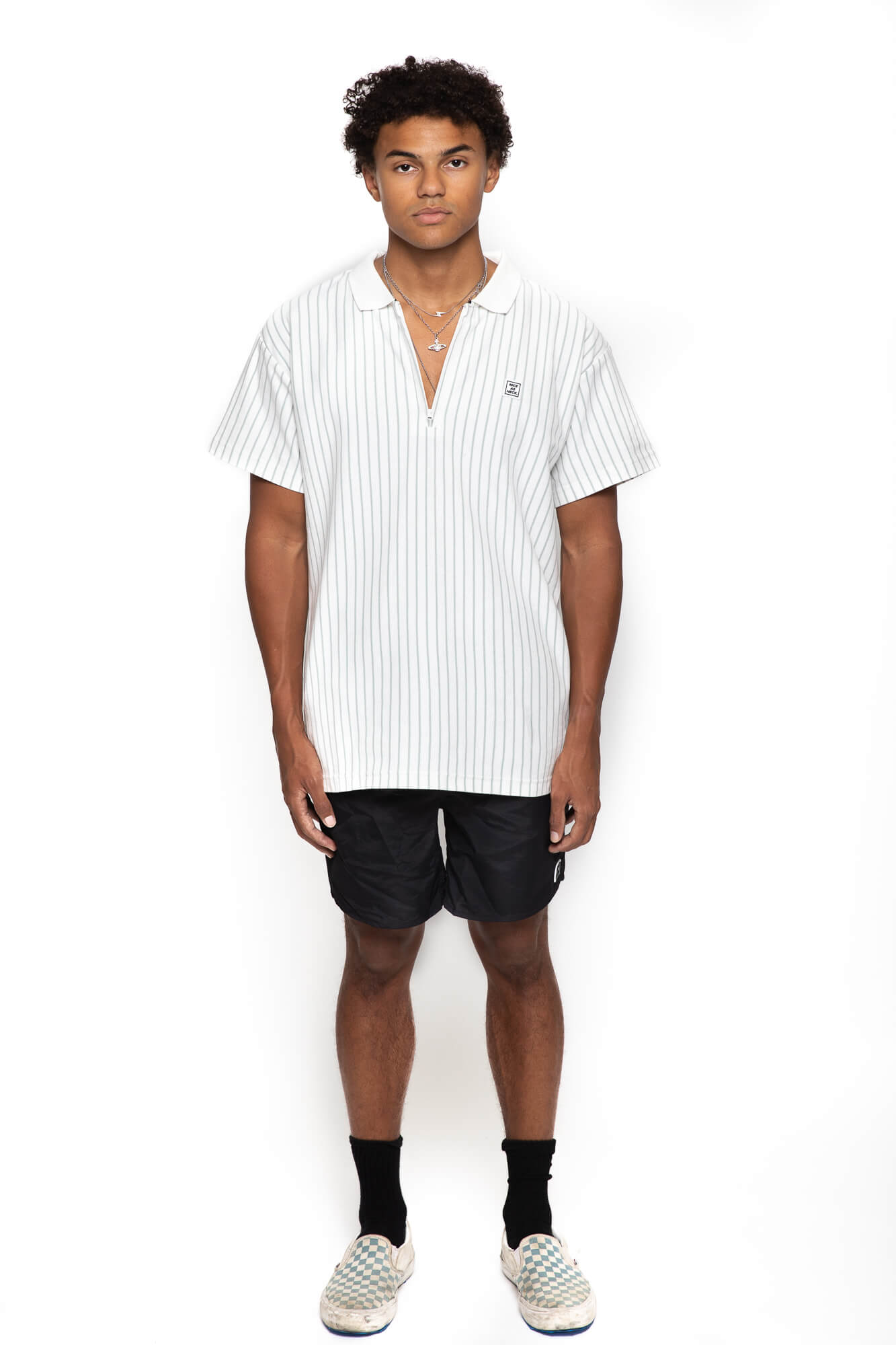front view of male model wearing the d plus polo