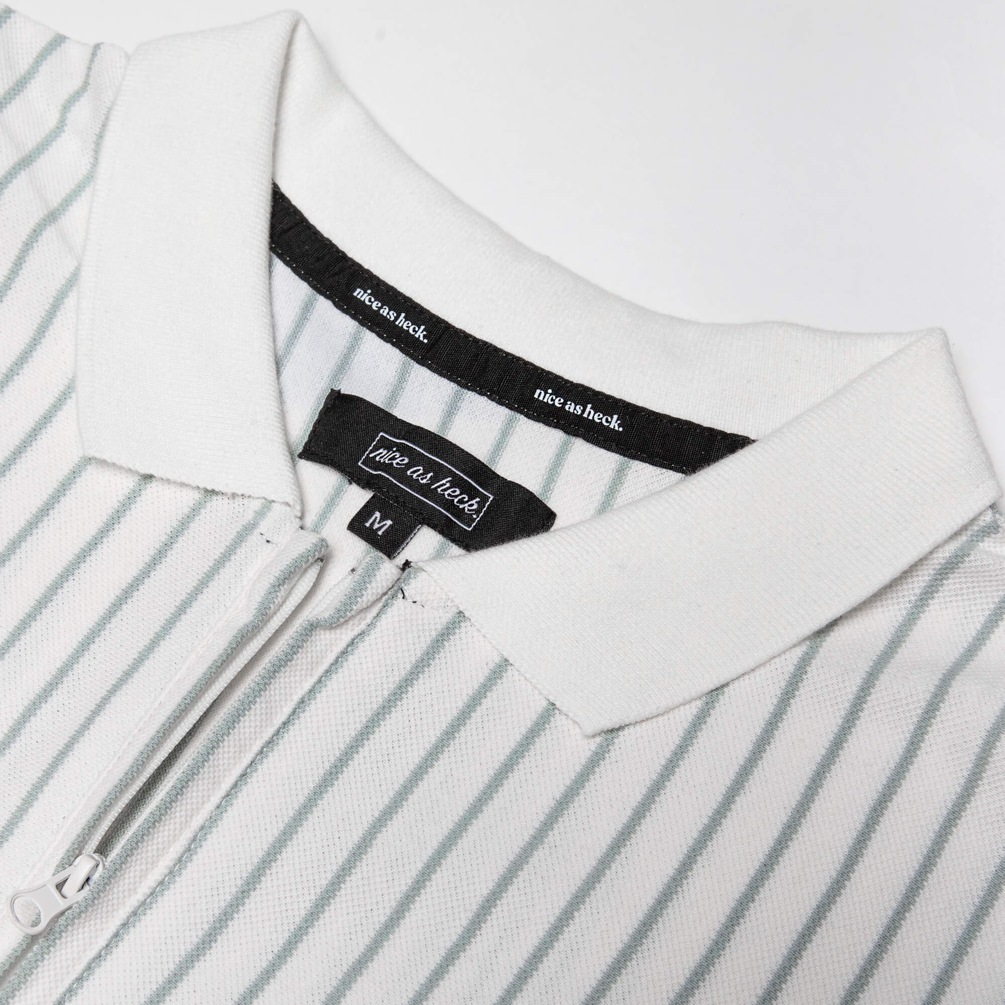 close up of the collar of the d plus polo