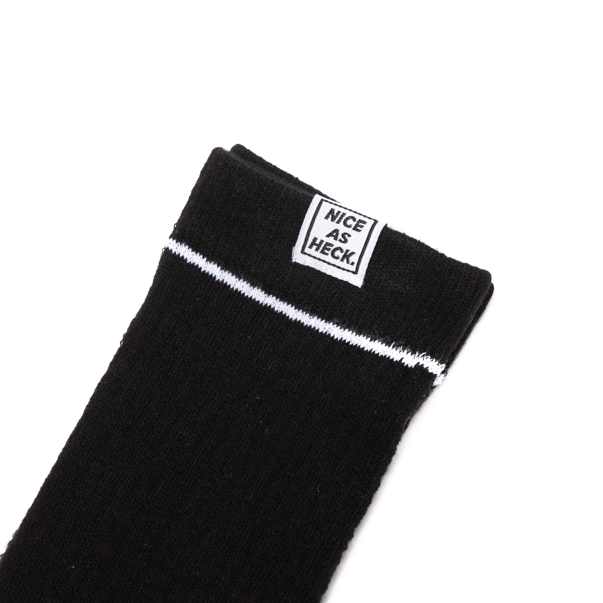 nice as heck logo on rim of socks