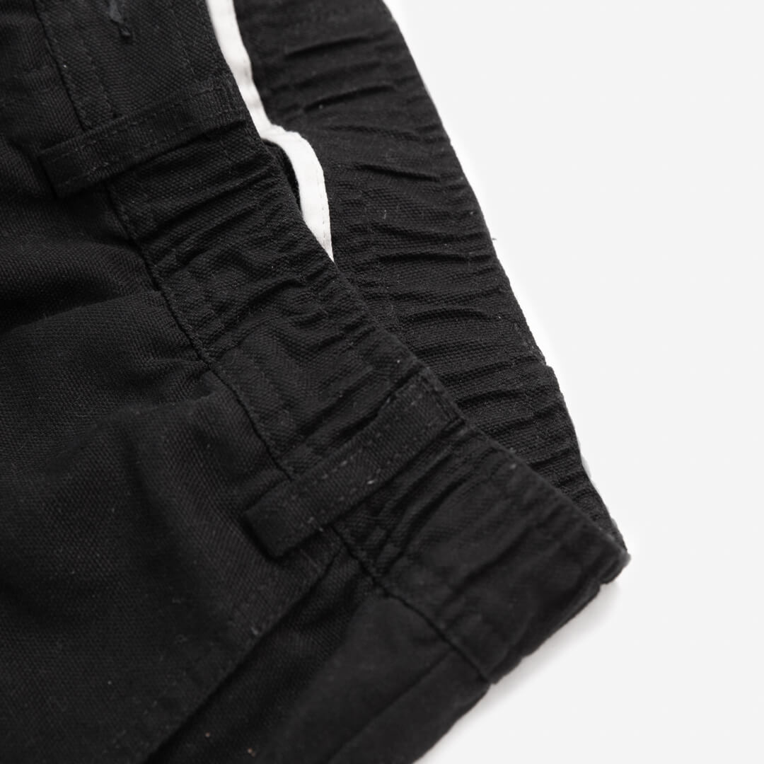 close up photo of the waist line on the black cross country carpenter pants