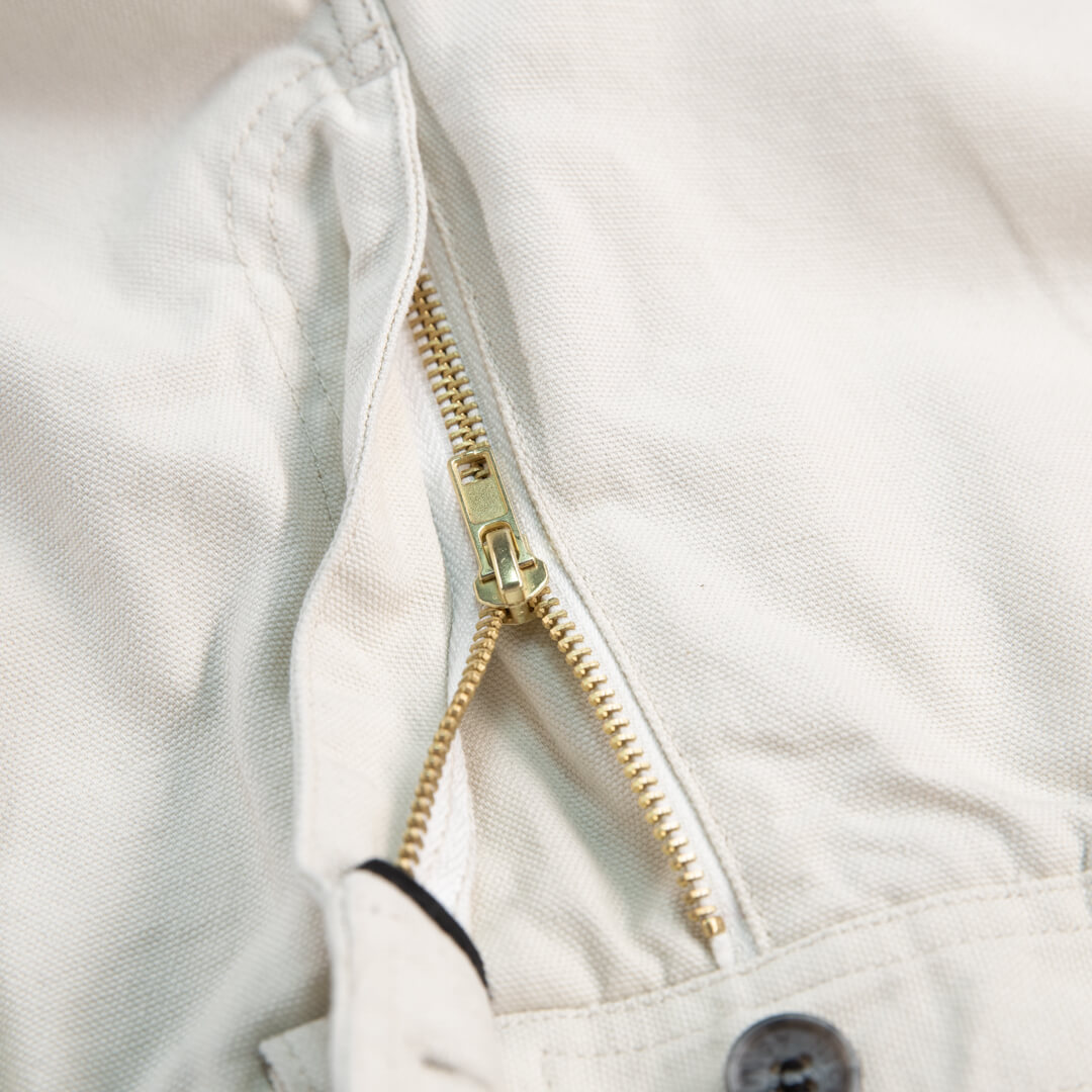 close up view of zipper on the off white cross country carpenter pants