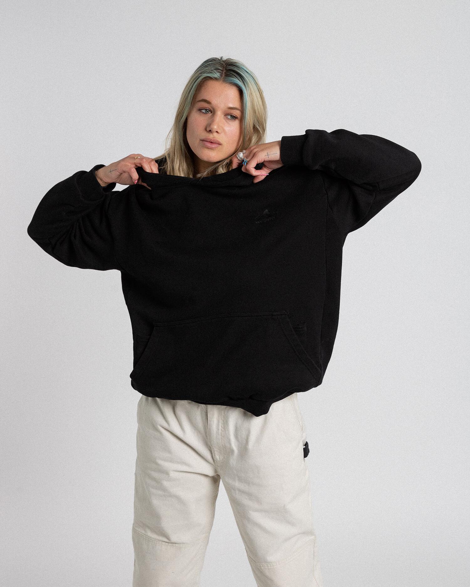 female model wearing favorite hoodie front view
