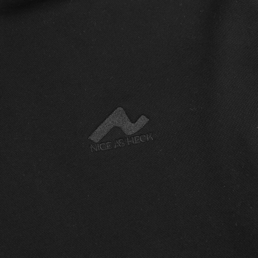 close up view of the nice as heck logo on the front left of the favorite hoodie