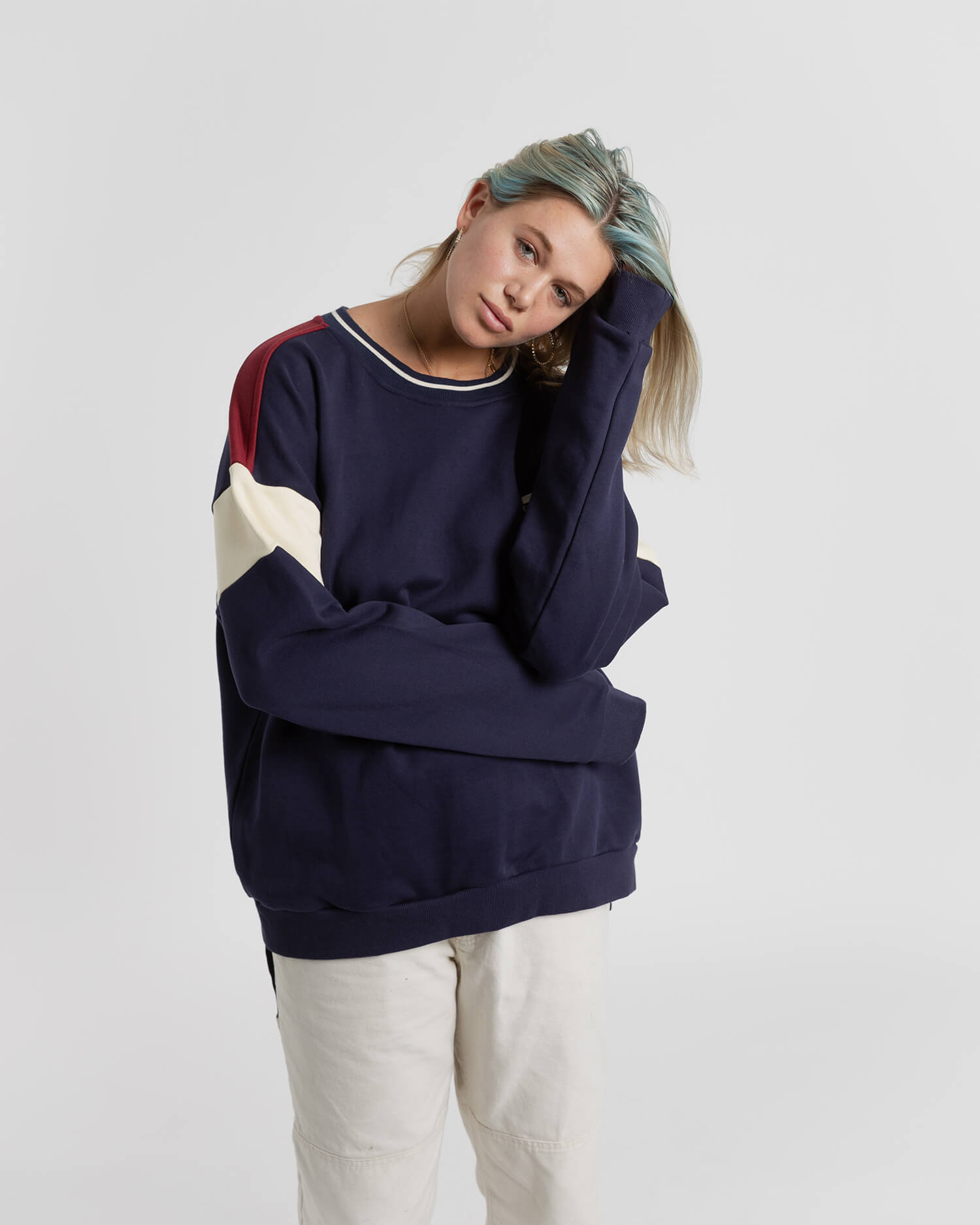 female model wearing the navy campfire crewneck front view
