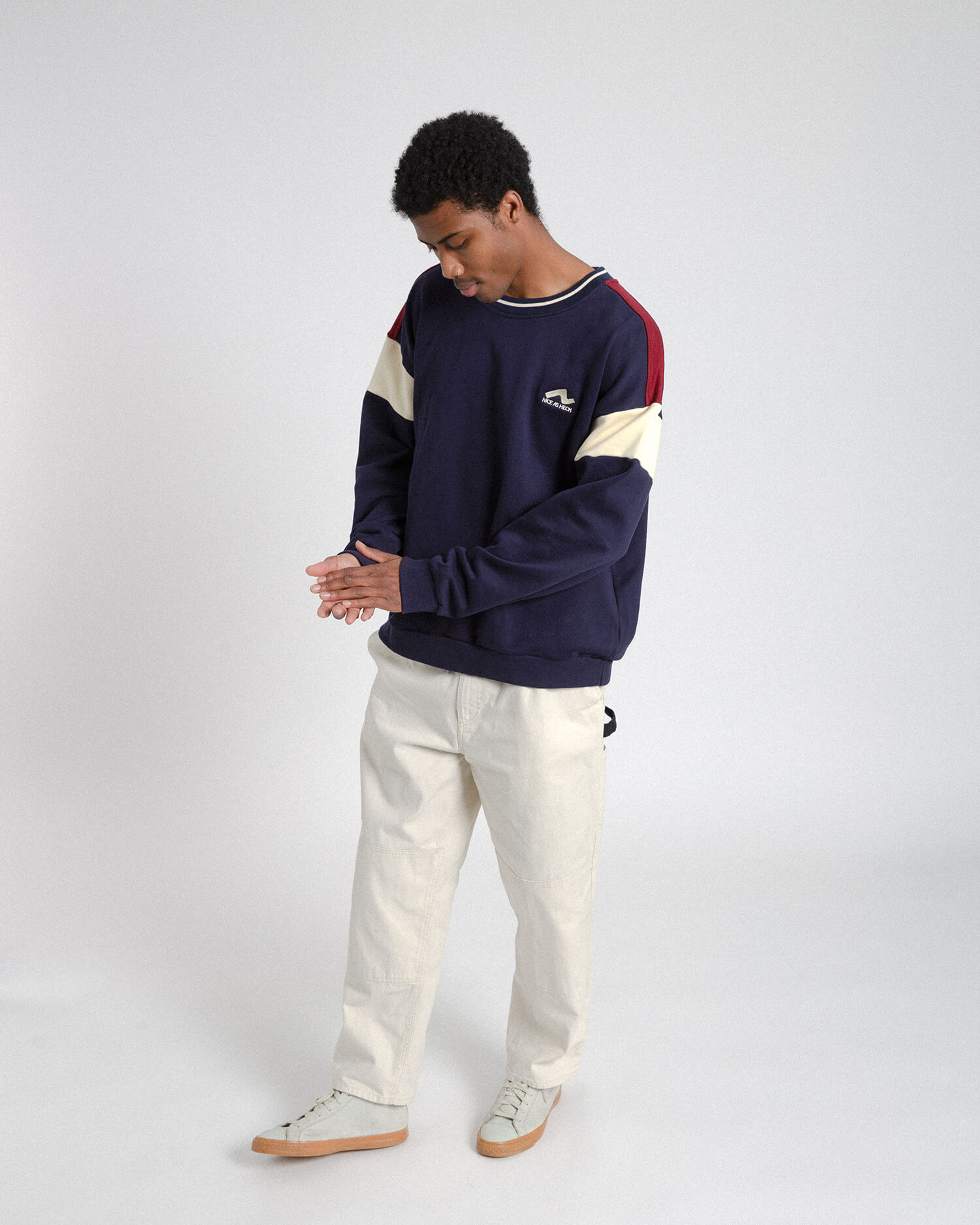 male model wearing the navy campfire crewneck front view