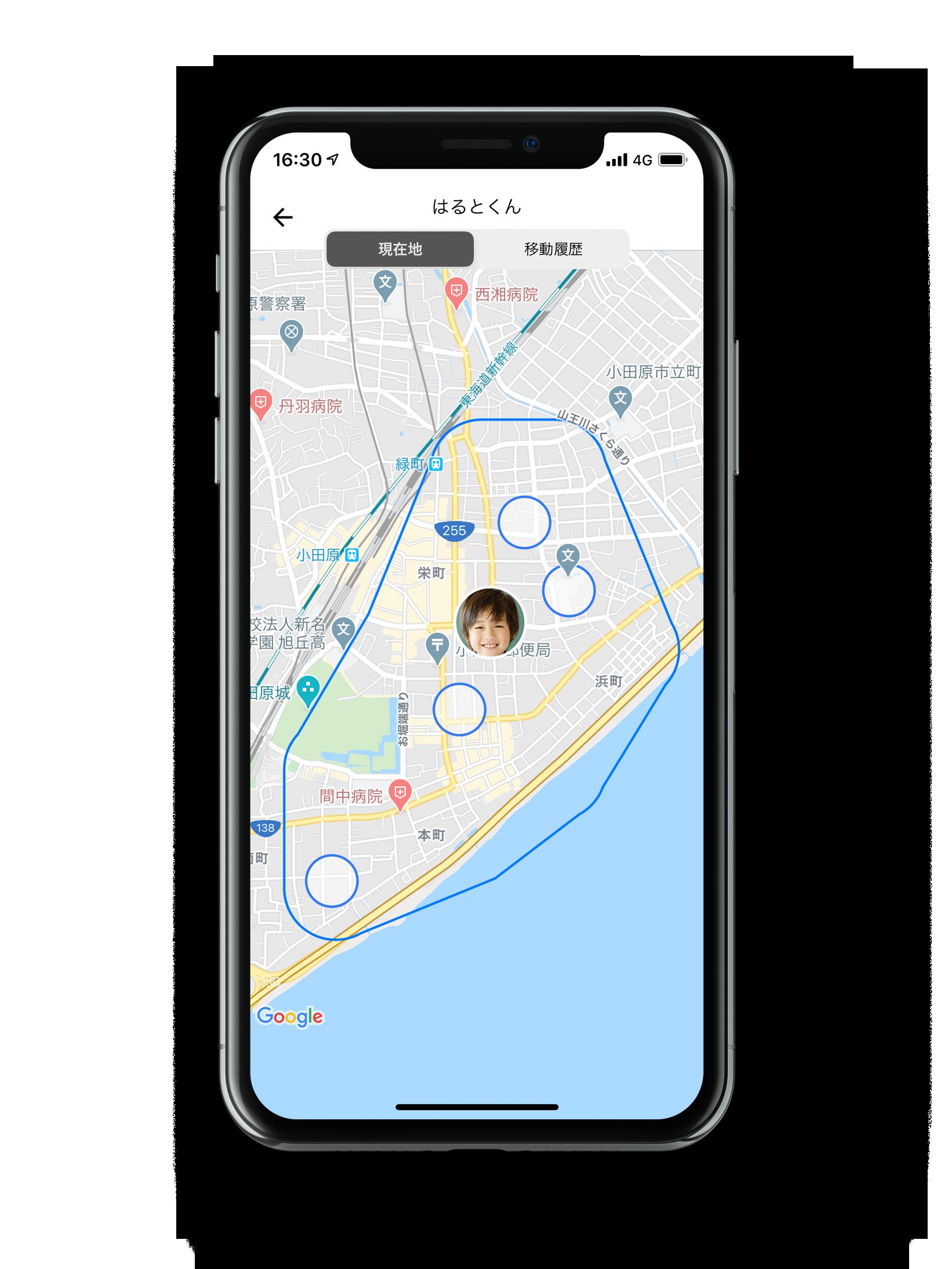 GPS BoT アプリで、見守る子供の現在地と行動範囲を示すスマートフォン