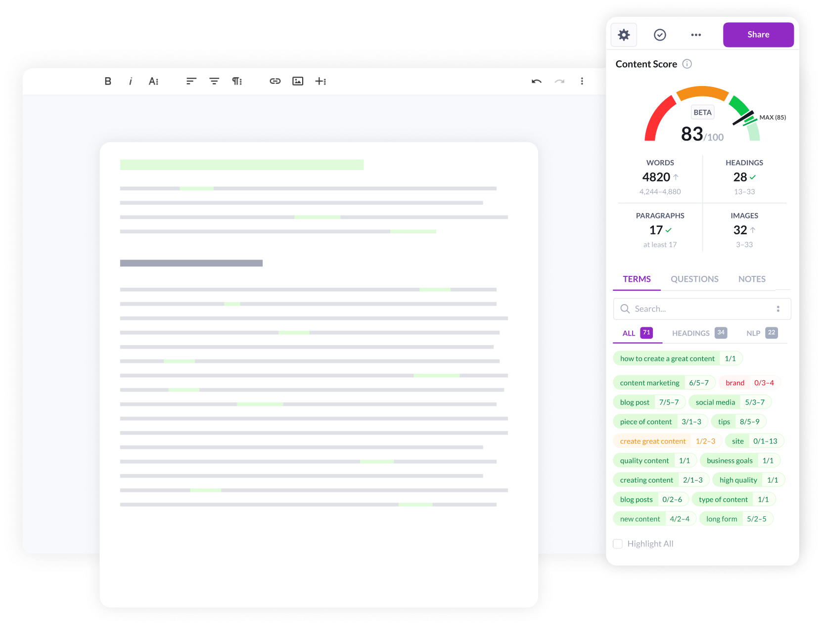 surfer seo content editor view