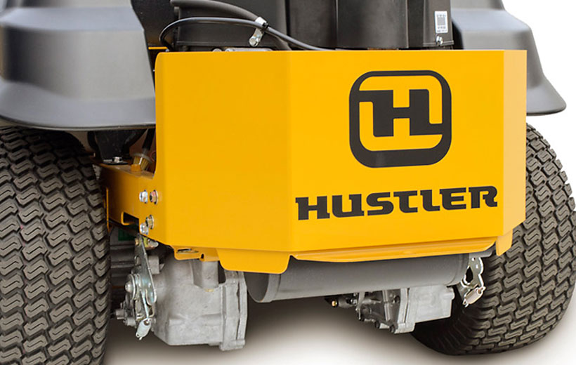 Image of the rear of a mower with a yellow steel rectangular guard around the engine