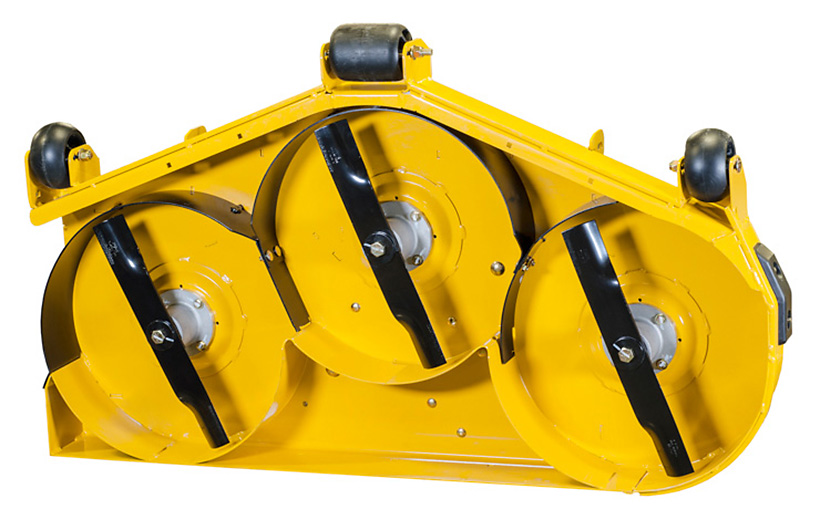 The underside of a yellow mower deck with black curved pieces surrounding one side of the blades