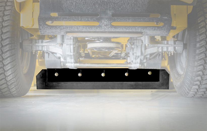 Image of a black rubber rectangular flap mounted under a mower