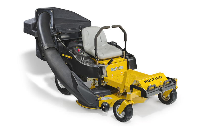 Front of a yellow mower with a black 2-bag catcher mounted on the back