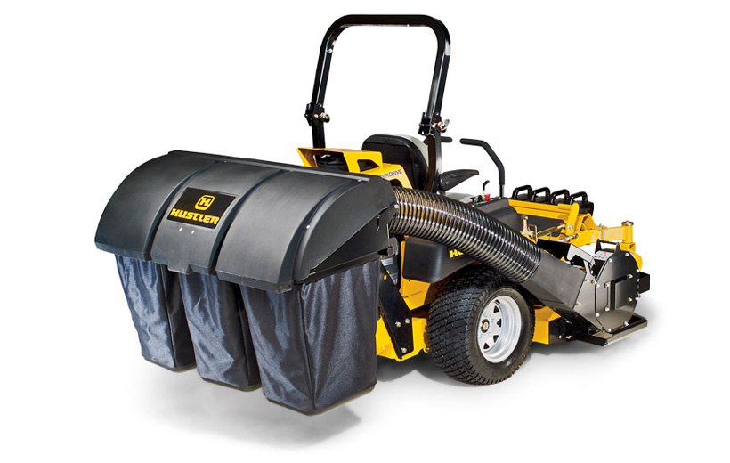 Image of the back of a yellow mower with a black 3 bag catcher mounted to the back.