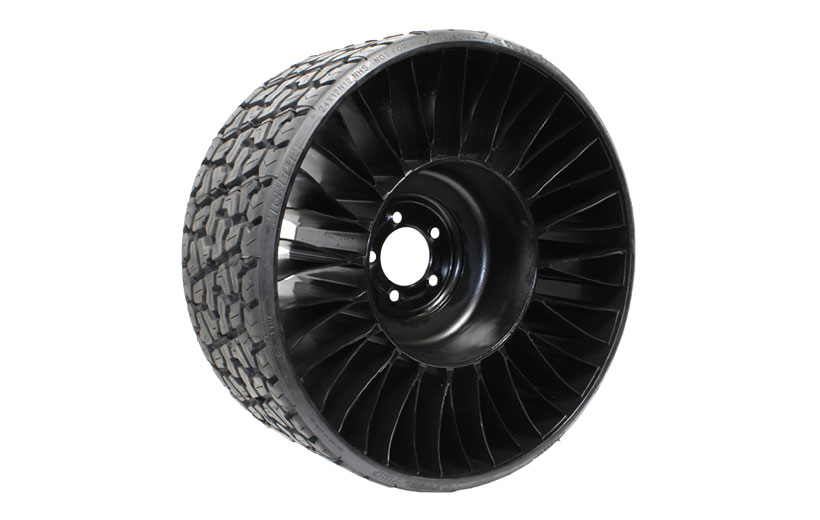 Image of black mower drive tire with internal ribs