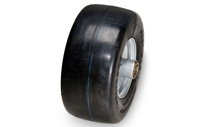 Image of the front tire of a mower