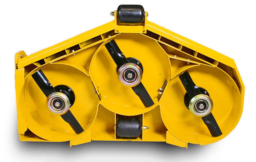 Image of the underside of a deck with yellow metal closing of deck openings