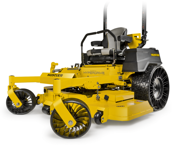 Image of a yellow riding mower with tweel wheels