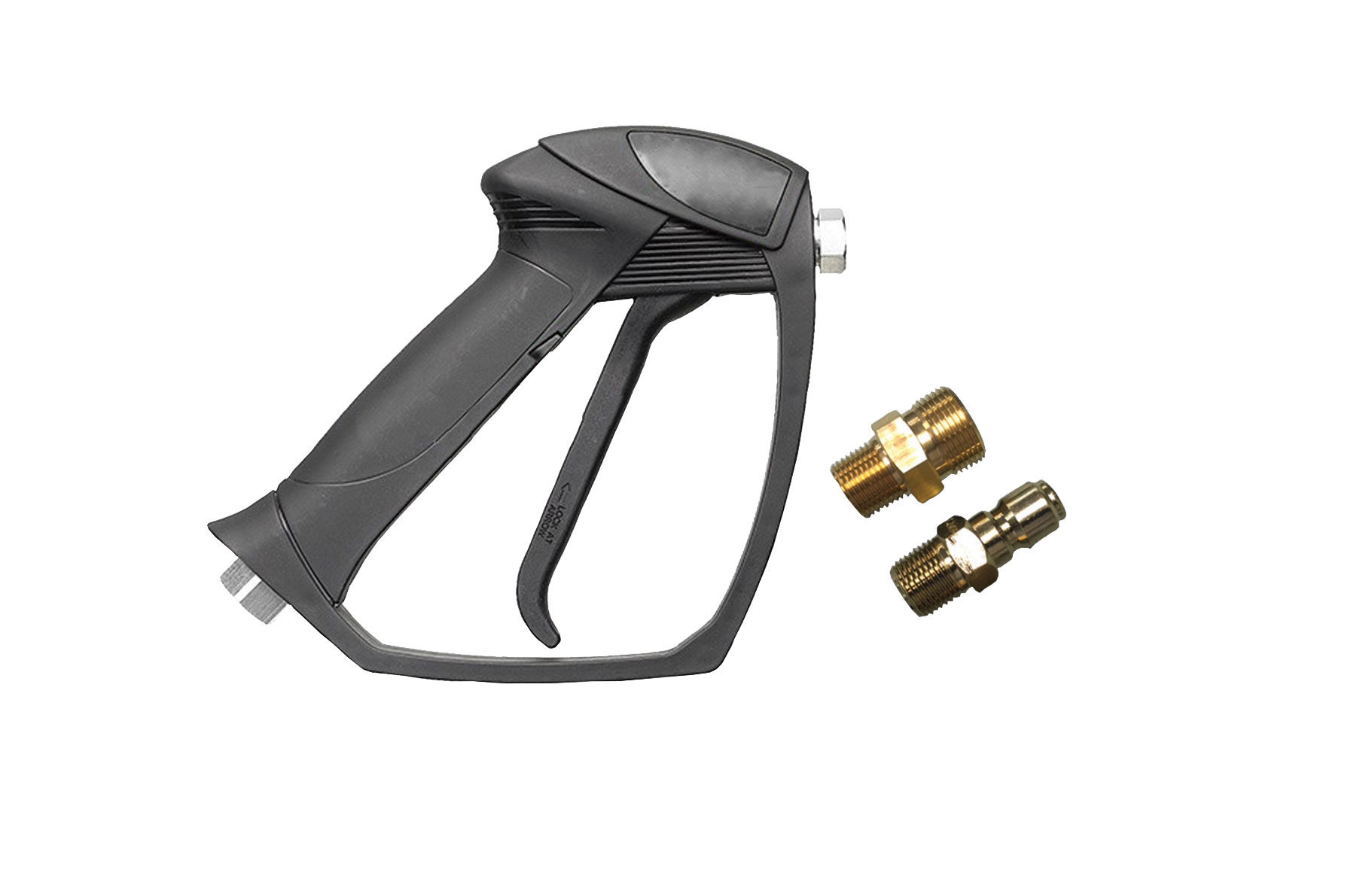 Image of spray gun handle and 2 metal fittings